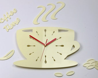 Clock To Kitchen Wall Clock Coffe Time Modern Clock Gift Wall Decoration  Cup Home U0026 Living