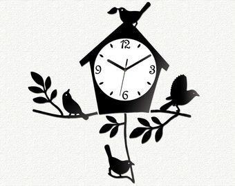 Wall Clock BIRD Modern clock large wall clock gift wall decor Unique wall clocks