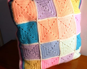 Handmade traditional crochet cushion cover, made to your own specification, in baby soft yarn to match your throw