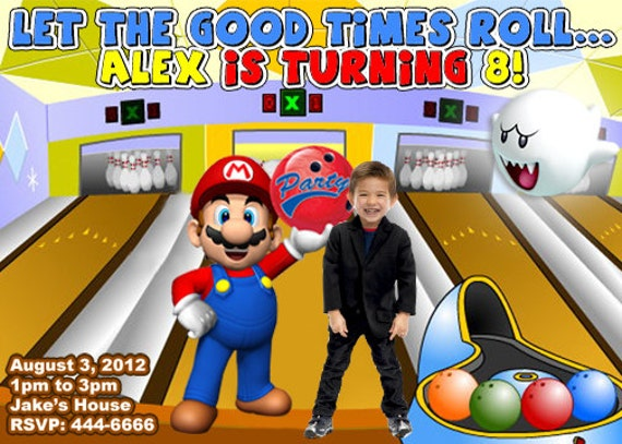Mario Brothers Bowling Birthday Party Invitations – Super Mario Bros Party Invitations