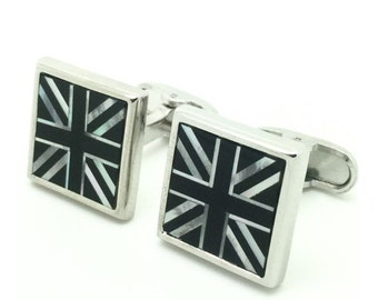 Great Britain flag shell cufflinks
