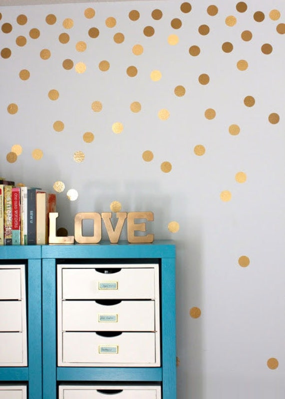 36x matte gold polka dot wall decal stickers decoration 7cm for How to make polka dots on wall