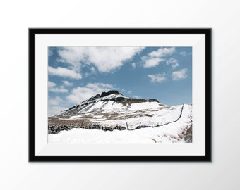 Pen-y-ghent landscape photography poster print. Wall art, photo of Snowy Penyghent, three peaks, Yorkshire Dales