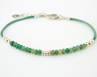 Green quartz bracelet. Gemstone bracelet.Sterling silver bracelet.Tiny silver bead bracelet.Silver beaded bracelet.Friendship bracelet.GE014