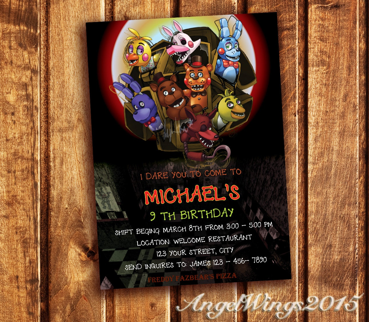 Five nights at freddy s invitation five nights by angelwings2015