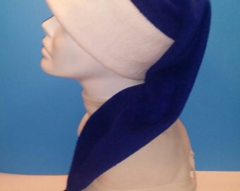 Fleece long men and women blue and white m & m hat