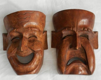 Mid-Century Asian Hand Carved Wood Comedy and Tragedy Masks