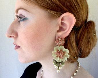 GEORGEIOUS BIG FLOWER Handbeaded Earrings by designer Colleen Toland