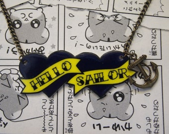 Hello Sailor Necklace - Rockabilly Sailor Jerry Navy Tattoo Anchor Heart Pin Up