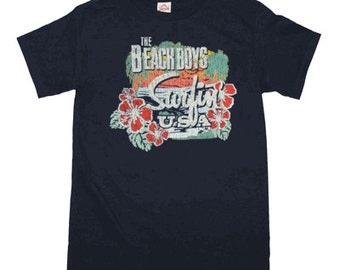 Beach Boys Surfing USA Tropical T-Shirt 100% Cotton Black Sizes S-M-L-XL