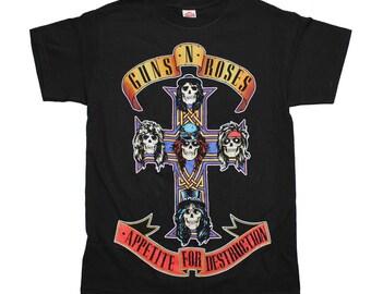 Guns n Roses Appetite For Destruction Jumbo Print T-Shirt Sz. S-M-L-XL Black C@@L L@@K