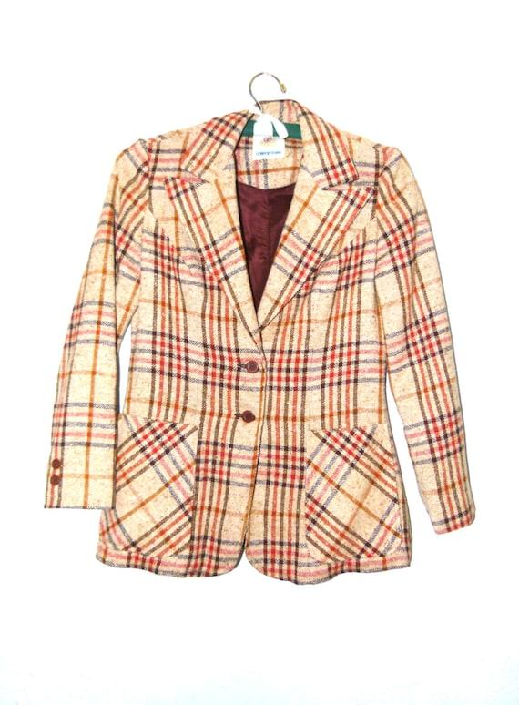 70s Academia Blazer; Studious Blazer; Unisex; Flannel Blazer; Preppy Blazer; Boyfriend Blazer; Vintage Jacket S/M/L