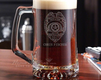 Police Badge Personalized Beer Mug - Police Officer Gifts Great for Retirement or Graduation - Unique Beer Gift for Dad or Boyfriend