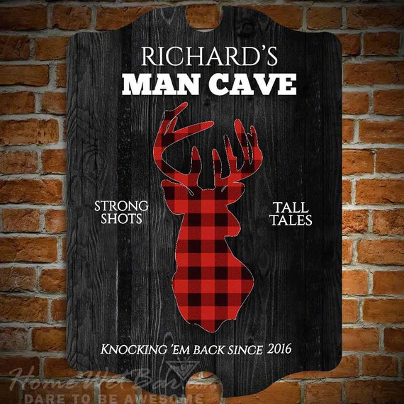 Man Cave Signs For Sale : Sale plaid stag custom man cave bar sign gifts for by
