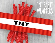 TNT Wrappers (Minecraft/Minetest/Terraria Theme Party) Licorice Candy Template Labels/Tags Instant Download PDF DIY Printable Wraps Birthday