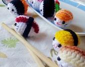 Amigurumi Sushi Set 2In1,mini crochet doll,kawaii crochet sushi,keychain,bag charm,phone charm