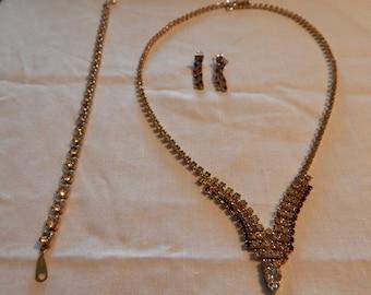Golden Rhinestone Necklace, Earrings & Bracelet