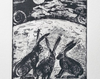 Hare print - Limited Edition Etching - Hare Claik'
