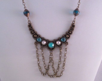 Necklace, antique, bronze, turquoise