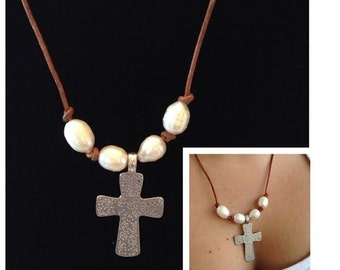 Leather and Pearl Cross Necklace