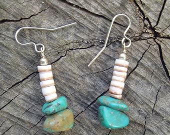 Nautural Turquoise n Shell Earrings