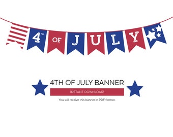 4th of July   Printables   4th of July Banner   Instant Download