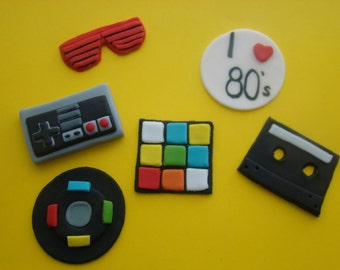 I heart the 80s cupcake toppers (100% Edible)