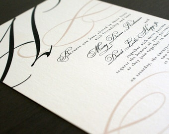 Grand Initial wedding invitation with blush pink and charcoal gray inks