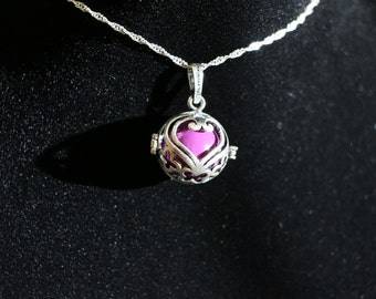 "Gentle Chime Purple Heart Pendant With 18"" or 22"" Sterling Silver Chain"