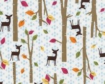 Woodland Fabric-Woodland Scenes-Deer in the Woods-Forest-Trees-Leaves-Modern Children's Fabric