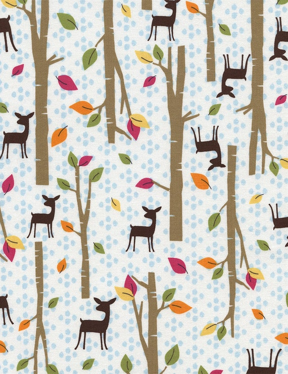 woodland fabric woodland scenes deer in the woods forest ForModern Kids Fabric