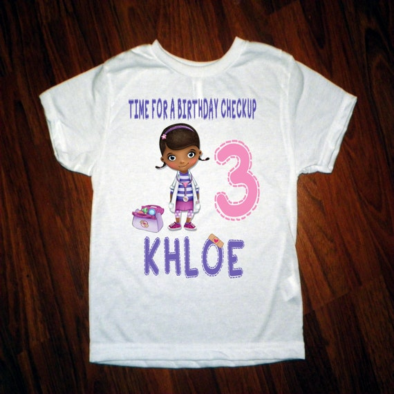 Doc mcstuffins birthday shirt custom with name and by for Doc mcstuffins birthday girl shirt