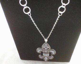 Long silver pendant necklace