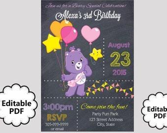 EDITABLE TEXT Carebears Birthday Invitation -  Carebears Party Invites - Carebears - Instant Download