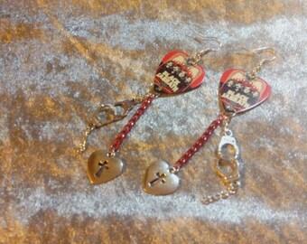 Black Sabbath and hand cuffs earrings