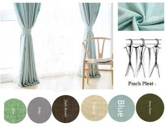 Garland Green Linen Curtains, custom drapes, Custom curtains, window curtain panels, shabby chic curtains, 2 panels
