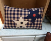 """Rustic Blue Check Pillow with Stars, Patriotic Appliqued Pillow, Handmade Toss Pillow, Country Style Accent, Americana, 8"""" x 14"""", TeamHAHA"""