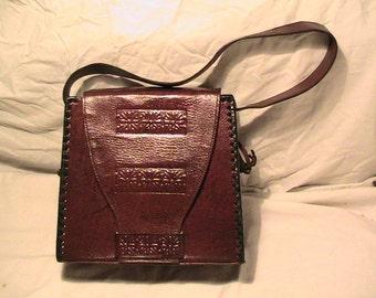Vintage 1970's Handmade Dark Brown Leather Handbag Shoulder Bag