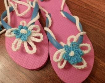 Flip Flop Sandal Teal and Pink