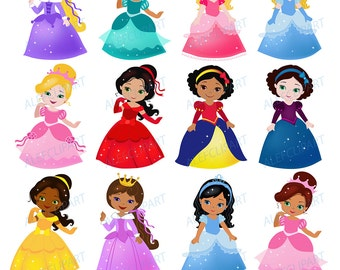Big Bundle Fairytale princess clipart commercial use.