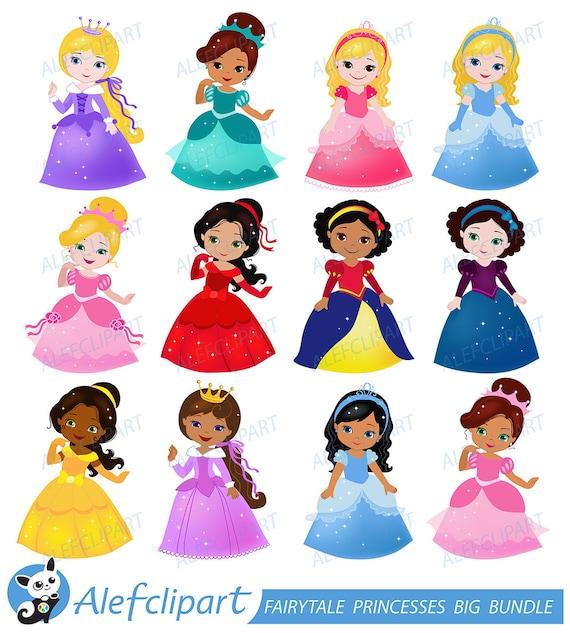 Big Bundle Fairytale princess clipart commercial use.