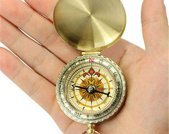 CUSTOM Engraved Compass, WORKING Compass - personalized compass. Front and/or back engraving