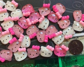 20 Kitty Cat Resin Flatback / Cabochons .. ( 20) Clear and Two shades of Pink with Glitter Kitty Cat Flatbacks