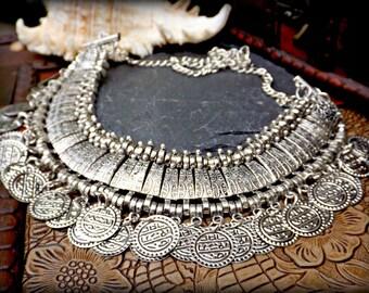 Silver Ethnic Necklace, Statement Ethnic Necklace, Silver Tribal Necklace, Silver Gypsy Necklace, Kuchi Necklace, Banjara Ethnic Jewelry