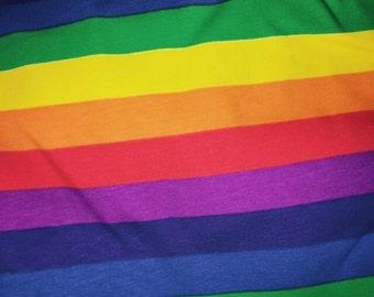 Rainbow Stripe Cotton Lycra Jersey Knit