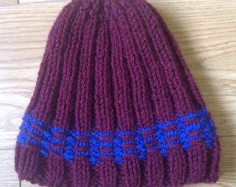 Adults maroon and blue beanie hat!