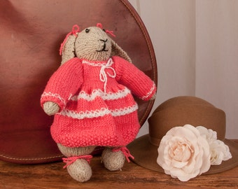 Petal, Light Brown Lop Ear Rabbit. Hand Knitted Plush Bunny. Made with Love & a Wool Blend.
