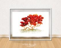 Watercolor Tree / Ink Painting / Print Watercolor Painting/ Red Flower Tree / Spring Tree / Tree Aquarelle / Art Home Decor / Mulungu
