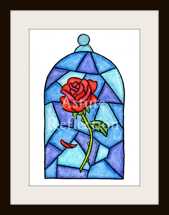 Rose inside glass disney beauty and the beast by for Rose under glass