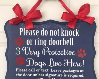Protective Dog  Custom Front Door Wooden Sign Hanger
